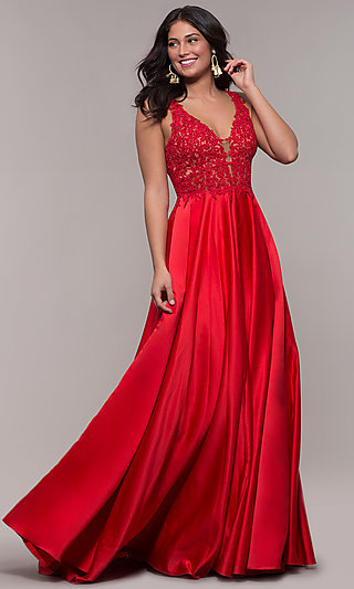 Red Long Satin Prom Dress with Embroidery