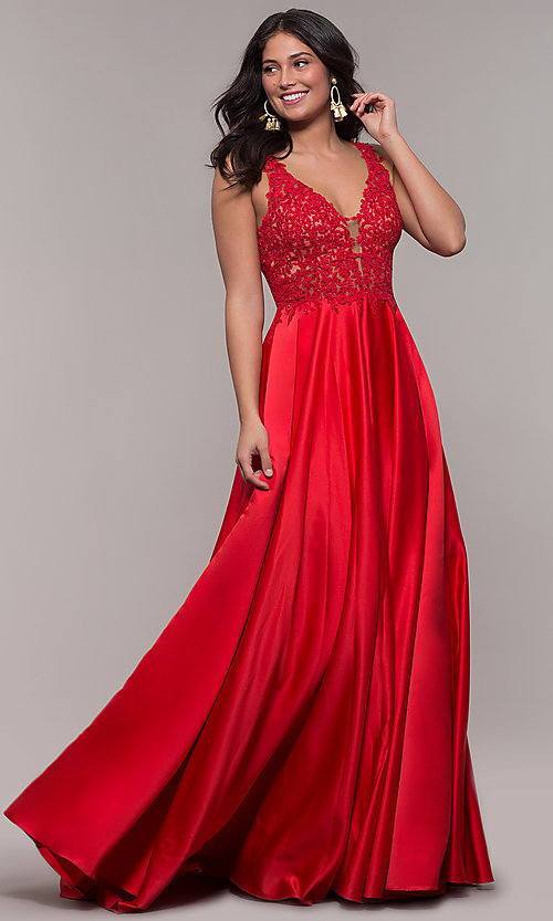 Image of red long satin prom dress with embroidery. Style: FA-10251 Front Image