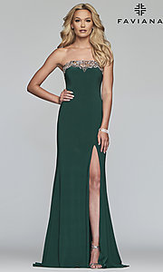 Image of strapless Faviana prom dress with embroidery. Style: FA-S10200 Detail Image 1
