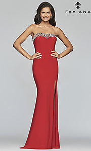 Image of strapless Faviana prom dress with embroidery. Style: FA-S10200 Detail Image 3