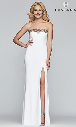 Strapless Jersey Prom Dress with Embroidery