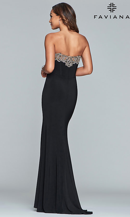 Image of strapless Faviana prom dress with embroidery. Style: FA-S10200 Back Image