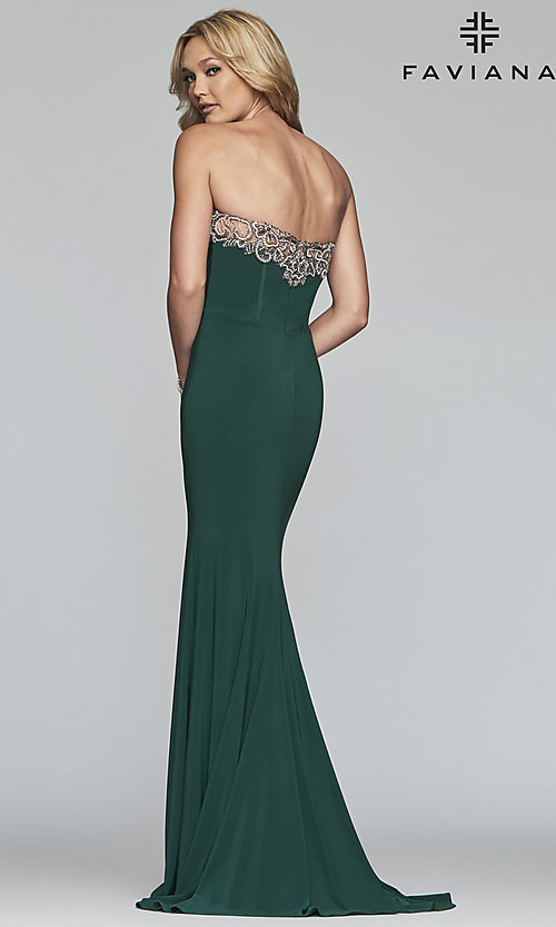 Image of strapless Faviana prom dress with embroidery. Style: FA-S10200 Detail Image 2