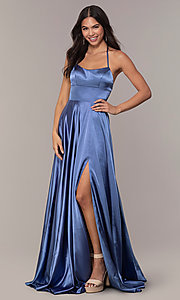 Image of satin open-back designer prom dress by Faviana. Style: FA-S10211 Detail Image 6