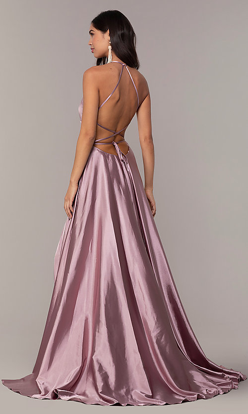 Image of satin open-back designer prom dress by Faviana. Style: FA-S10211 Detail Image 2