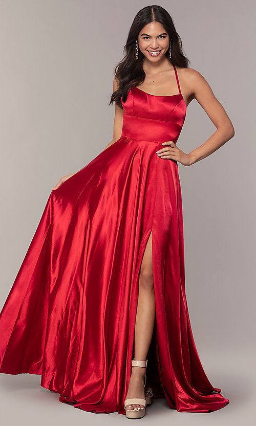 Image of satin open-back designer prom dress by Faviana. Style: FA-S10211 Back Image