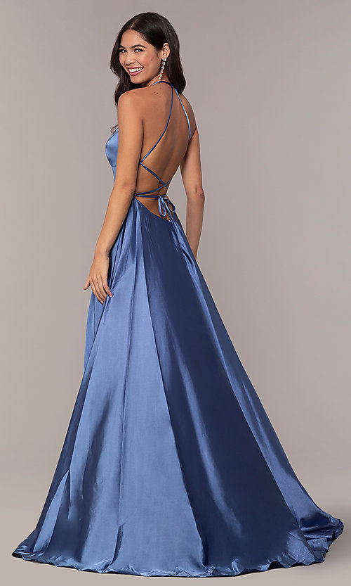 Image of satin open-back designer prom dress by Faviana. Style: FA-S10211 Detail Image 7