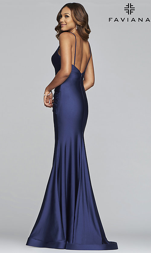 Image of long mermaid-style prom dress by Faviana. Style: FA-S10212 Back Image