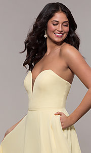 Image of strapless a-line chiffon prom dress by Faviana. Style: FA-S10232 Detail Image 6