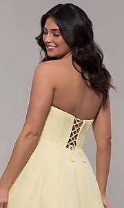 Image of strapless a-line chiffon prom dress by Faviana. Style: FA-S10232 Detail Image 7