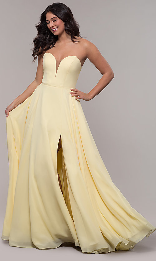 Image of strapless a-line chiffon prom dress by Faviana. Style: FA-S10232 Detail Image 4