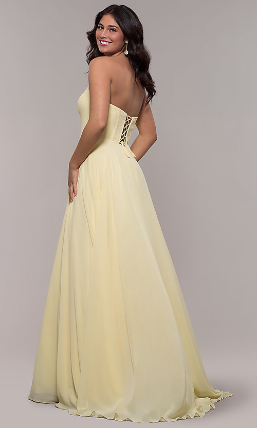 Image of strapless a-line chiffon prom dress by Faviana. Style: FA-S10232 Detail Image 5