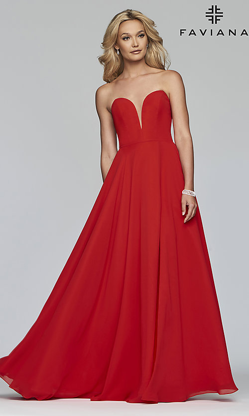 Image of strapless a-line chiffon prom dress by Faviana. Style: FA-S10232 Detail Image 3