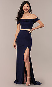 Image of two-piece long navy off-the-shoulder prom dress. Style: FA-S10262 Front Image