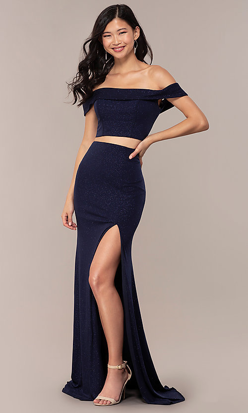 Image of two-piece long navy off-the-shoulder prom dress. Style: FA-S10262 Detail Image 3