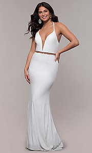 Image of long jersey v-neck prom dress with beaded waist. Style: FA-S10266 Back Image