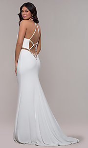 Image of long jersey v-neck prom dress with beaded waist. Style: FA-S10266 Front Image