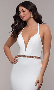 Image of long jersey v-neck prom dress with beaded waist. Style: FA-S10266 Detail Image 1