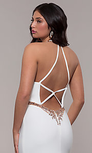 Image of long jersey v-neck prom dress with beaded waist. Style: FA-S10266 Detail Image 2
