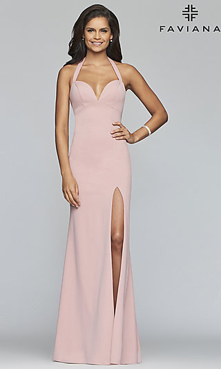 Long Sleeveless Sweetheart Prom Dress by Faviana
