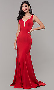 Image of open-caged-back long mermaid prom dress by Alyce. Style: AL-60280 Back Image