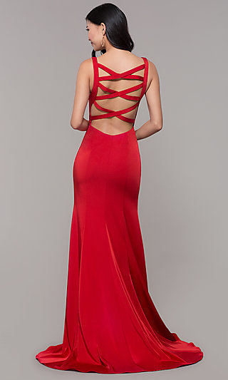 Open-Caged-Back Long Mermaid Prom Dress by Alyce