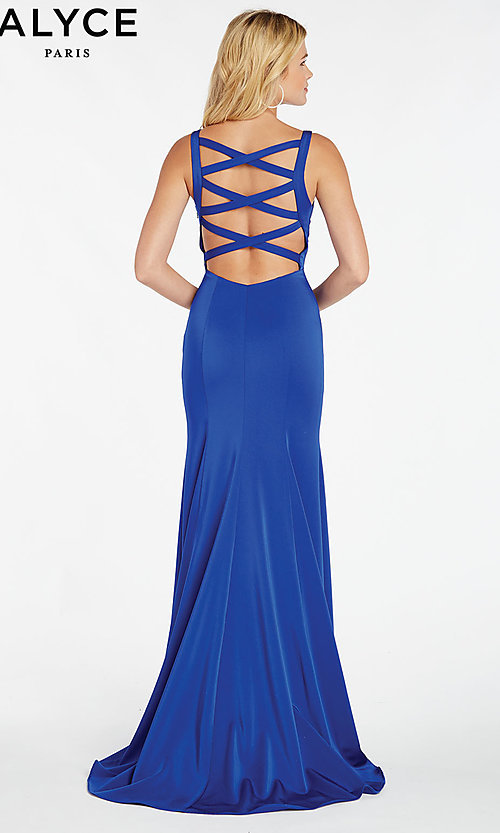 Image of open-caged-back long mermaid prom dress by Alyce. Style: AL-60280 Detail Image 7