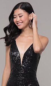 Image of Alyce long sparkly sequin v-neck formal prom dress. Style: AL-60304 Detail Image 1