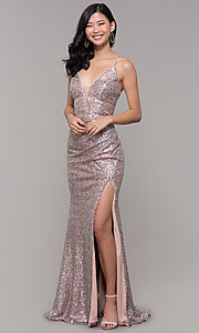 Image of Alyce long sparkly sequin v-neck formal prom dress. Style: AL-60304 Detail Image 4