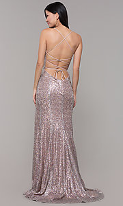 Image of Alyce long sparkly sequin v-neck formal prom dress. Style: AL-60304 Detail Image 5