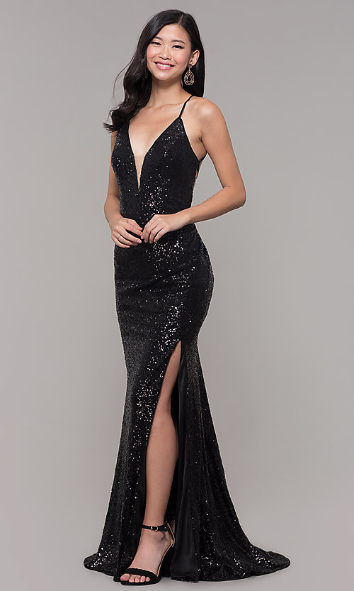Image of Alyce long sparkly sequin v-neck formal prom dress. Style: AL-60304 Back Image