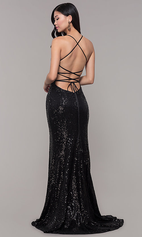 Image of Alyce long sparkly sequin v-neck formal prom dress. Style: AL-60304 Front Image