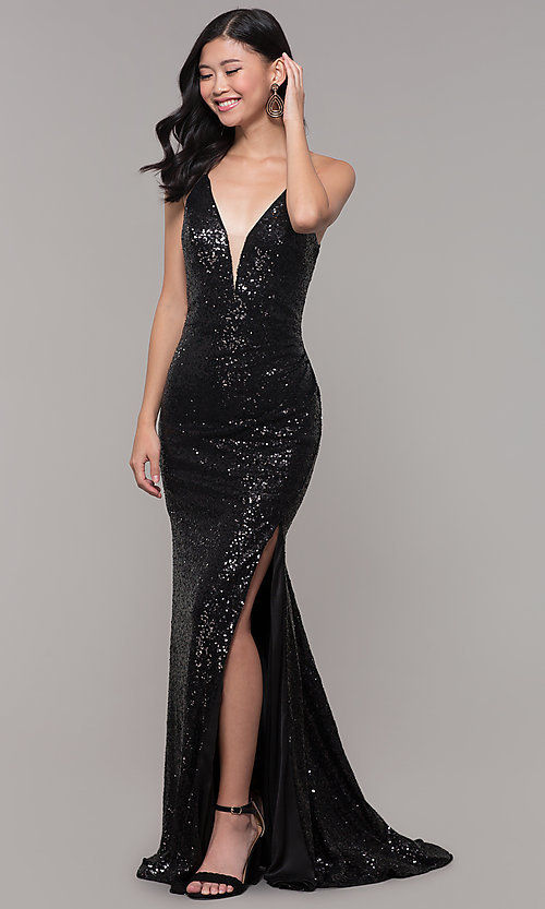 Image of Alyce long sparkly sequin v-neck formal prom dress. Style: AL-60304 Detail Image 3