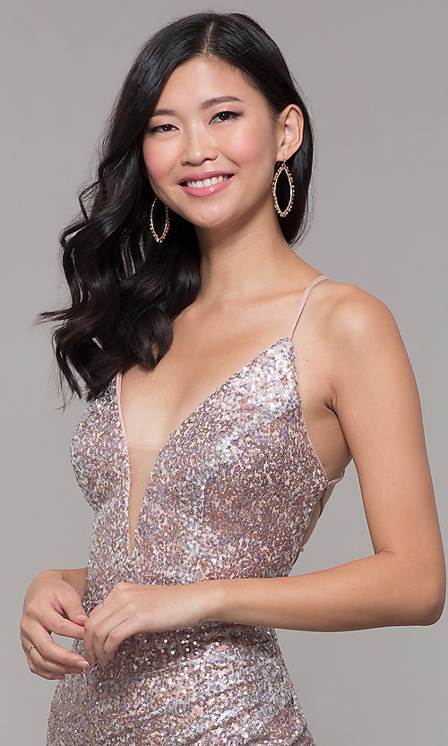 Image of Alyce long sparkly sequin v-neck formal prom dress. Style: AL-60304 Detail Image 6