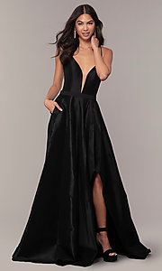 Image of long v-neck high-low prom dress by Alyce. Style: AL-60394 Detail Image 3