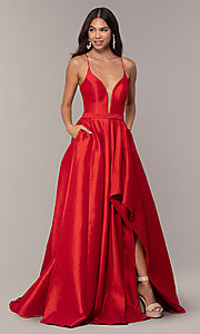 Image of long v-neck high-low prom dress by Alyce. Style: AL-60394 Detail Image 5