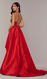 Image of long v-neck high-low prom dress by Alyce. Style: AL-60394 Detail Image 6