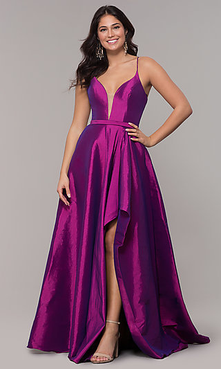 990d50f862d Long V-Neck High-Low Prom Dress by Alyce