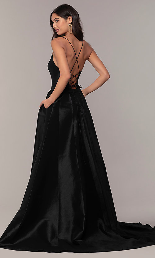 Image of long v-neck high-low prom dress by Alyce. Style: AL-60394 Detail Image 4