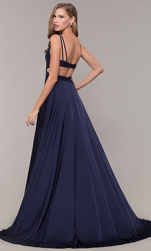 Image of long designer v-neck cut-out prom dress by Alyce. Style: AL-60453 Front Image