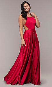 Image of long open-caged-back mock-wrap prom dress. Style: AL-60459 Detail Image 4
