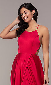 Image of long open-caged-back mock-wrap prom dress. Style: AL-60459 Detail Image 6