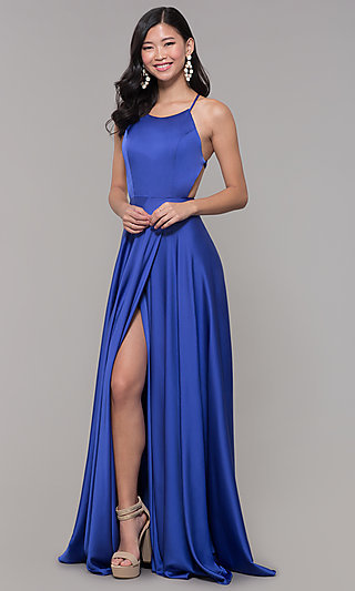 Long Open-Caged-Back Mock-Wrap Prom Dress