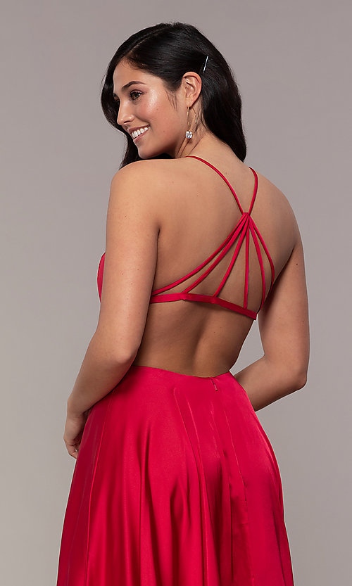 Image of long open-caged-back mock-wrap prom dress. Style: AL-60459 Detail Image 7