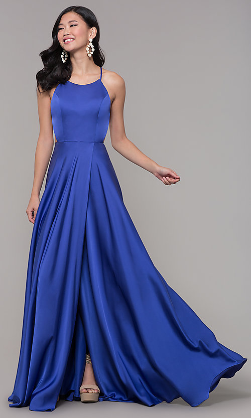 Image of long open-caged-back mock-wrap prom dress. Style: AL-60459 Detail Image 3