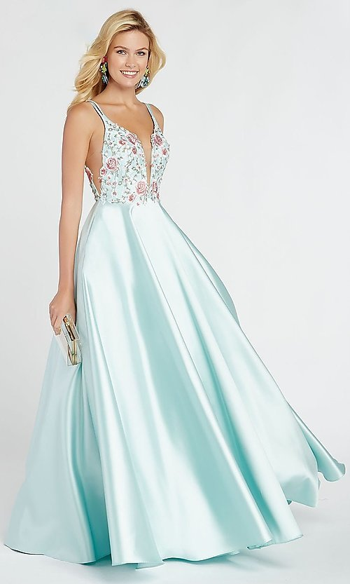 Image of embroidered-bodice long a-line v-neck prom dress. Style: AL-60504 Detail Image 4
