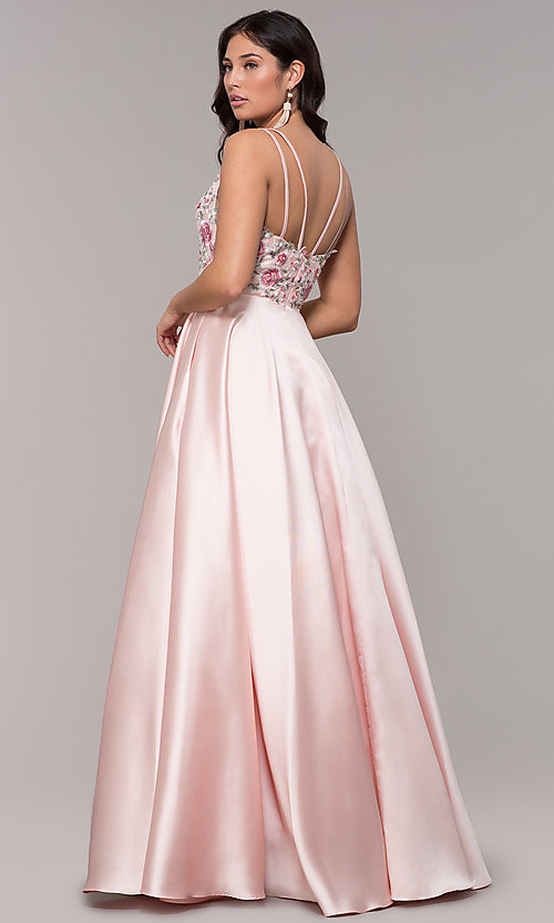 Image of embroidered-bodice long a-line v-neck prom dress. Style: AL-60504 Back Image
