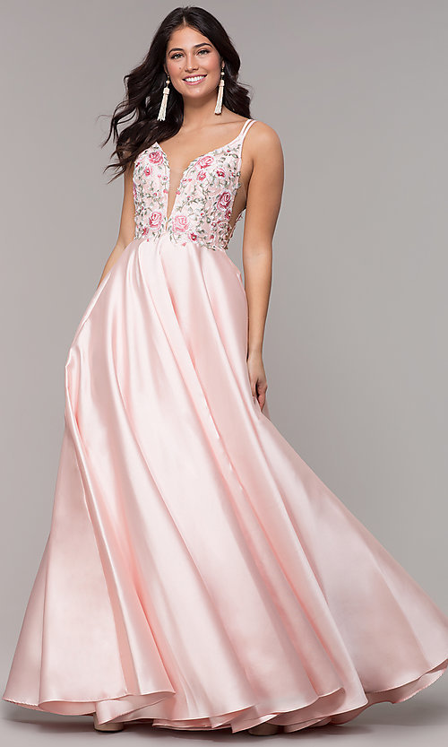 Image of embroidered-bodice long a-line v-neck prom dress. Style: AL-60504 Detail Image 3