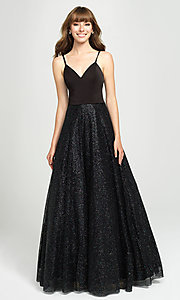 Image of long glitter ball-gown-style sleeveless prom dress. Style: NM-19-100 Detail Image 4