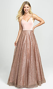 Image of long glitter ball-gown-style sleeveless prom dress. Style: NM-19-100 Detail Image 2